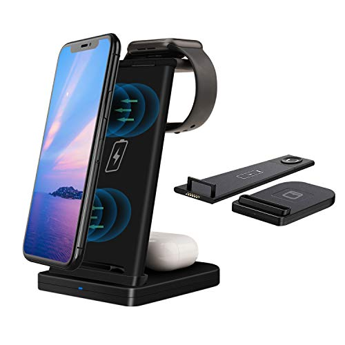 Wireless Charger Station 3 in 1 for iPhone/iWatch/Airpods, efiealls Detachable Qi Fast Wireless Charging Dock Stand Compatible with Apple Watch/AirPods Pro/AirPods 2/iPhone/Samsung/Huawei/LG (Black)