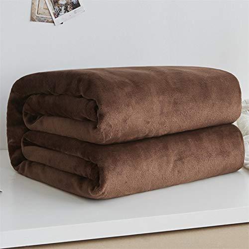 YUYANG Flanell-Decken für Betten, Kunstpelz, Nerzüberwurf, einfarbig, Pink / Blau, Sofaüberwurf, Tagesdecke, Plaiddecken, 100 x 140 cm, Kaffeebraun