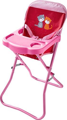 HABA 304107 - Puppen-Hochstuhl Blumenwiese, Sitz zum Aufklappen mit Gurt und Tisch, Puppenzubehör für Puppen bis 38 cm; Spielzeug ab 18 Monaten