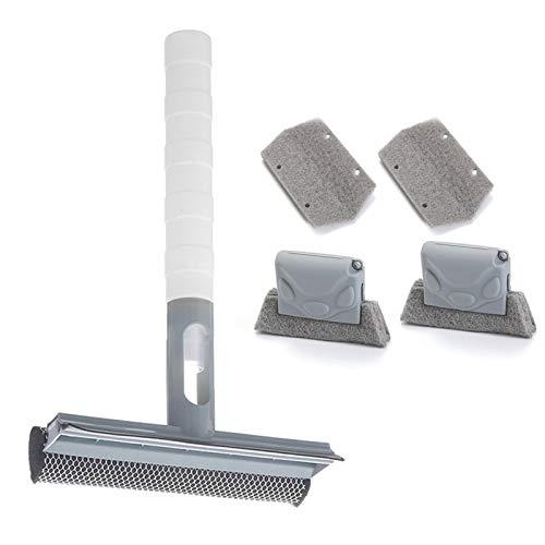 iEago RC - Raclette de ducha para limpiaparabrisas, cristal con pulverizador, 2 cepillos de limpieza de ranura, 2 cepillos de repuesto para cocina, cuarto de baño, ventana, azul y gris