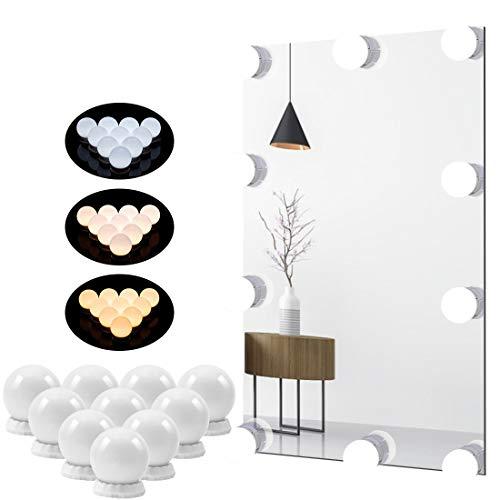 Led Spiegelleuchte, Schminklicht für Spiegel, onehous USB Spiegel Licht mit 10 Dimmbarer Helligkeit und 3 Einstellbarem Farbmodus, Hollywood Schminktisch licht für Kosmetikspiegel, Badzimmer Spiegel…