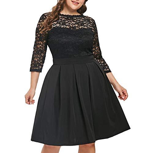 URIBAKY Mode A-Line Kleid Damen große größen Spitzenbesatz Kleider,Knielang Kleider, Party Kleid,Retro Cocktailkleid Rockabilly Oansatz Solide 3/4 Ärmel Flare