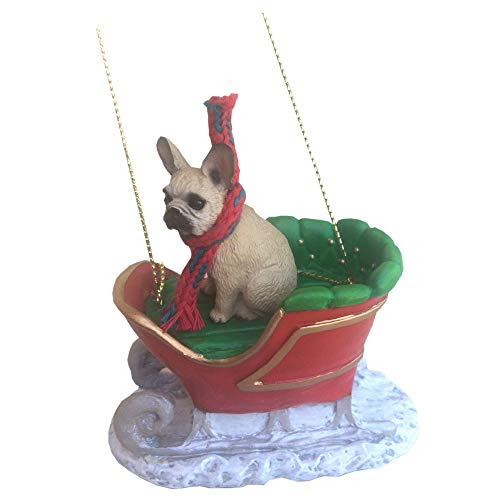 Conversation Concepts French Bulldog Sleigh Ride Christmas Ornament Fawn - Delightful!