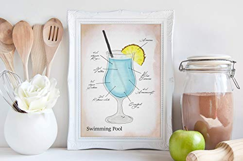 Kunstdruck - Swimming Pool - DIN A3, DIN A4 - Geschenk, Cocktail, Deko