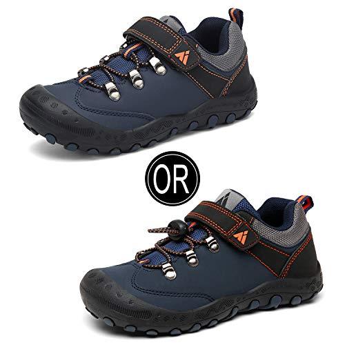 Zapatos Casuales de Niño Ultraligero Transpirable Zapatillas Senderismo Niña Cómodo Flexible Antideslizante Calzado Deportivo Niños Unisexo, PU Azul Ocuro 30
