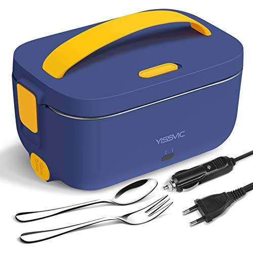 YISSVIC Lunchbox Elektrisch Brotdose 3 in 1(12V/24V/220V) für Auto/LKW und Büro 1,5L mit Gabel, Löffel und Entnehmbare Dose Blau