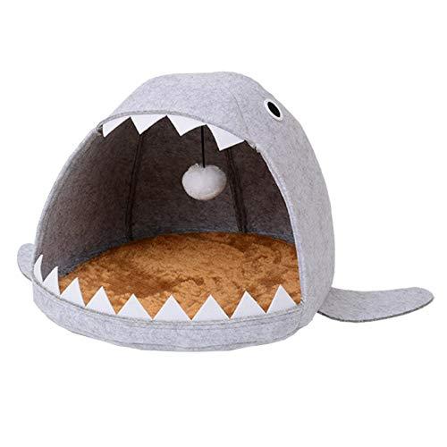 Ygccw Memory Foam Pluche Hond Bedden Hondenmand Bed Dekens Lounger Huisdier benodigdheden Haai kat nest vier seizoenen verwijderbaar en wasbaar vilt grijs, 55 * 65 * 33cm