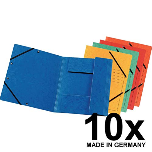 Original Falken 10er Pack Premium Einschlagmappe. Made in Germany. Aus extra starkem Colorspan-Karton mit 3 Innenklappen DIN A4 mit 2 Gummizügen farbig sortiert Sammelmappe Dokumentenmappe