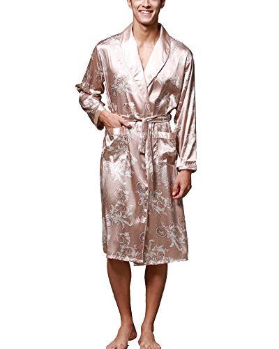 Albornoz Kimono Pijama para Hombre Largo Robe Dragón De Impresión Camello 2XL