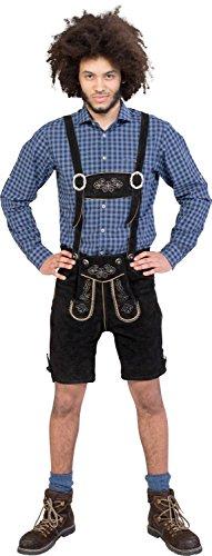 Almwerk Herren Trachten Lederhose kurz Modell Sepp in schwarz, braun und Hellbraun, Farbe:Schwarz;Größe Herren:48