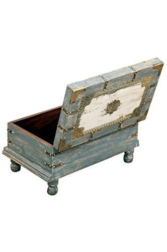 Orientalische Truhe Kiste aus Holz Arjuna Grau - 47cm groß | Vintage Sitzbank mit Aufbewahrung für den Flur | Aufbewahrungsbox mit Deckel im Bad | Betttruhe als Kissenbox oder Deko im Schlafzimmer - 6