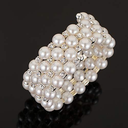 BGQ Pulsera de perlas naturales Multi-Circle Crystal Jade Multi-Layer Bracelet