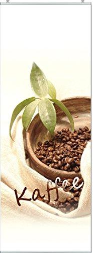 Schiebegardine Kaffee Digitaldruck mit Paneelwagen, Klemmleiste, Schiebevorhang mit Flauschband (Oben angenäht) 184 x 60 cm