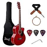 Juarez Arpeggio 39 Inch Acoustic Guitar Kit, Spruce Top, Rosewood Fretboard & Bridge, Truss Rod, Chrome Die Cast Machine Tuners, Red