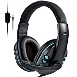 Wallfire Gaming Headset Stereo Surround Sound Lightweight Over Ear Gaming Headphones with Noise Cancelling Mic Headphone 3.5mm Wired with Mic for PS4 Laptop Xbo