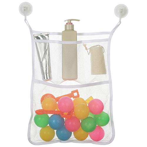Angla Mesh Hanging Organizer Shower Caddy Bathroom Storage Bags with 4 Pockets Wall Door Mounted Organizer,Toys and Diaper Organizer for Baby