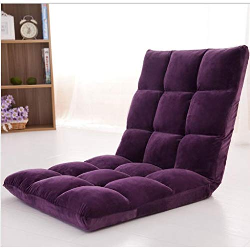 Dsrgwe Silla de Suelo Cojín de Asiento con Respaldo Regulable, Cama Plegable Respaldo de sillón reclinable, for la meditación, la Lectura, Ver, Video-Juegos (Color : Purple)