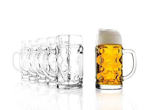 Stölzle Oberglas ISAR Maßkrug 0,5 l- Original Biermaßkrug Oktoberfest, Bierglas, Tradition, Augenkrug, 6 Stück, spülmaschinenfest, hochwertige Qualität