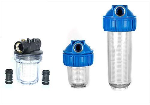 Vorfilter in verschiedenen Größen für Hauswasserwerk Pumpenfilter Wasserfilter Pumpenvorfilter mit einer Maschenweite von 0,06 mm. Leistung 3000 l/h und 4000l/h + Montagezubhör. (3000 l/h Schwarz)