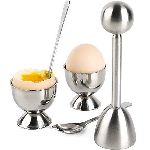 Bugucat Eierköpfer 5PCS Set Eierschneider, Eieröffner Eierteiler aus 304 Edelstahl Egg Slicer Splitter Chopper Eier Cutter Cracker Küchenwerkzeug, 1x Eierköpfer - 2X Eierbecher - 2X Löffel für Eier