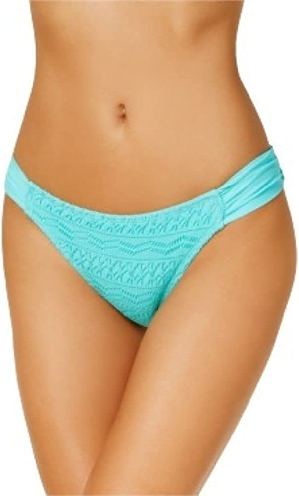 Hula Honey Juniors' Little Wild One Crochet Tab-Side Hipster Bikini Bottoms, Women's Swimsuit - Aqua Beach XL