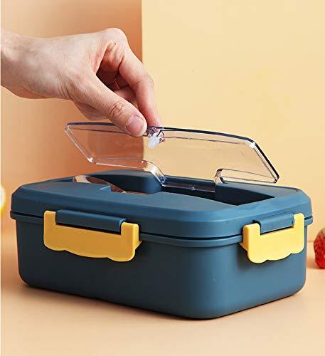 Porta Pranzo, Lunch Box con Posate(Forchetta e Cucchiaio), Bento Box con Scomparti Bambini, Porta Pranzo Contenitori per Microonde (blu navy)