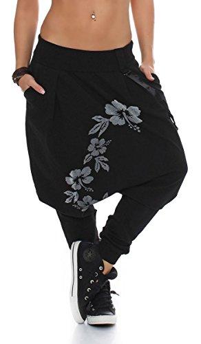 Malito Damen Haremshose mit tiefem Schnitt | Hose mit Flower Print | Baggy zum Tanzen | Sweatpants - Jogginghose 91085 (schwarz)
