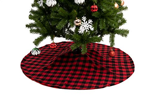Joiedomi 48' Baffalo Check Tree Skirt (Red) 48' Buffalo Plaid Christmas Tree Skirt - Black and Red Checked Tree Skirts Mat for Christmas Holiday Party Decorations