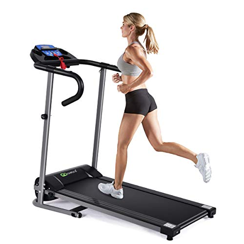 Goplus 1100W Electric Folding Treadmill, with LCD Display and Heart Rate Sensor, Compact Running Machine for Home