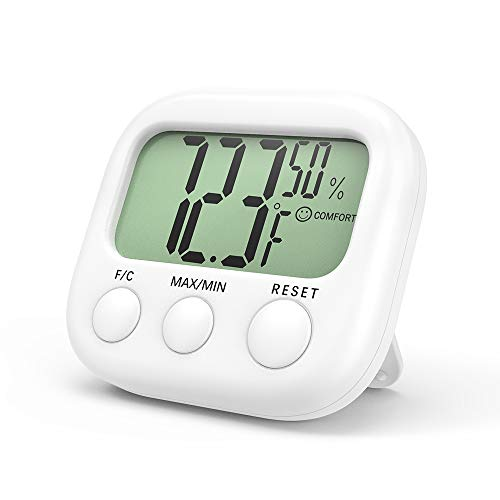 FEELOVE Indoor Thermometer Digital Hygrometer Humidity Gauge, Room Thermometer, Temperature and Humidity Monitor, with Maximum and Minimum Records, for Home Office Greenhouse