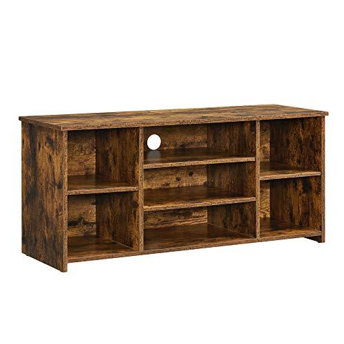 VASAGLE Mueble de TV, Soporte de TV con 7 Compartimentos Abiertos, Estantes de Almacenamiento Ajustables, para televisores de hasta 43 Pulgadas, Marrón Rústico LTV103X01
