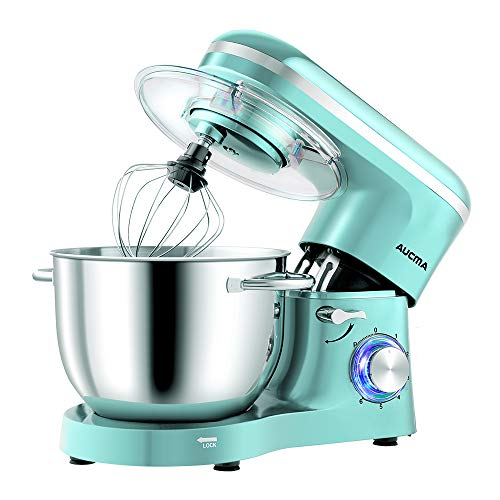 Aucma Küchenmaschine Knetmaschine 1400W, 6.2L Reduzierte Geräusche Knetmaschine mit Rührbesen, Knethaken, Schlagbesen und Spritzschutz, 6 Geschwindigkeit mit Edelstahlschüssel Teigmaschin(Blau)