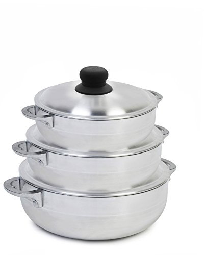 IMUSA USA 3 Piece Polish Aluminum Caldero Set, Silver 1.6, 3.2, 4.6-Quarts (Dutch Oven Set),Gray