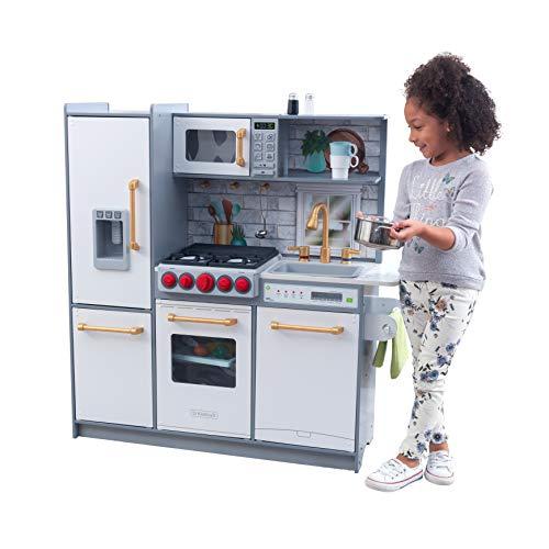 KidKraft- Cocina de madera de juguete Uptown Elite para niños con tres modos de juego y funciones prácticas , Color Blanco (53437)