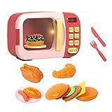 Ruby569y Juguetes de juego de simulación de horno de microondas Modelo de juguete Timing Jugar casa de muñecas muñeca interactiva - rojo