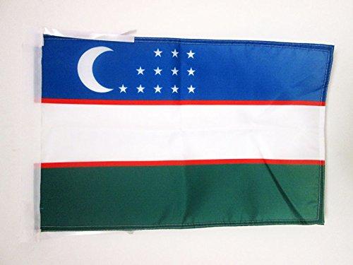 AZ FLAG Flagge USBEKISTAN 45x30cm mit Kordel - USBEKISCHE Fahne 30 x 45 cm - flaggen Top Qualität
