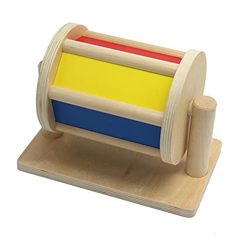 FANFX Spinning Drum Montessori Spielzeug für 3-12 Monate Babys Holz Spinning Drum Baby Musik Spielzeug