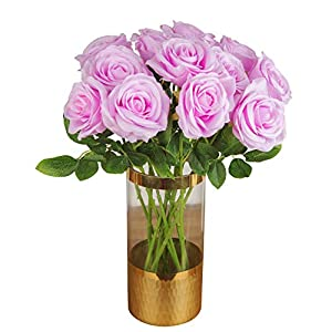 Silk Flower Arrangements UnikLove Artificial Roses Silk Flowers One Dozne Real Looking Fake Artificial Flowers for Wedding Centerpieces Party Home Baby Shower Decor - Lilac