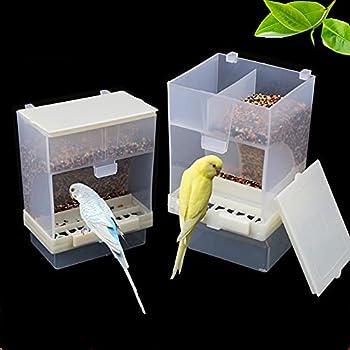 Vinnykud Mangeoire Automatique pour Oiseaux Peut être Suspendue Distributeur de graines pour perruches, calopsittes, Conures, aras, inséparables, pinsons, canaris