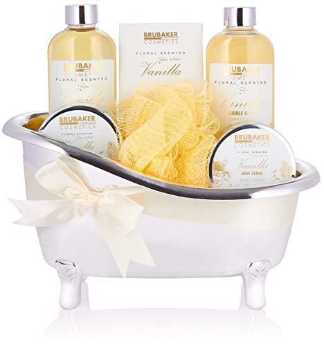 BRUBAKER Cosmetics Set bagno e doccia alla vaniglia - Set regalo 7 pezzi in vasca decorativa