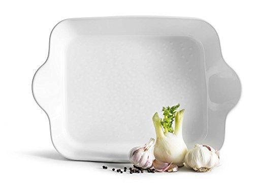 Sagaform SA5017728 Plat rectangulaire Carré Piccadilly Passe au four, Blanc, Grès