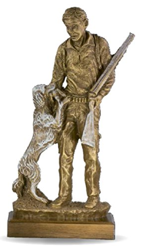 Figura cazador con perro GRABADA escultura PERSONALIZADA figuras caza menor