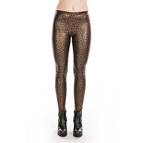 Rubberfashion Glanz Leggings, Sexy glänzende Leggins Legings metallic Low Waist - Stretch Hose glänzend bis zur Hüfte für Damen und Frauen Menge: 1 Stück metallic Leopard S