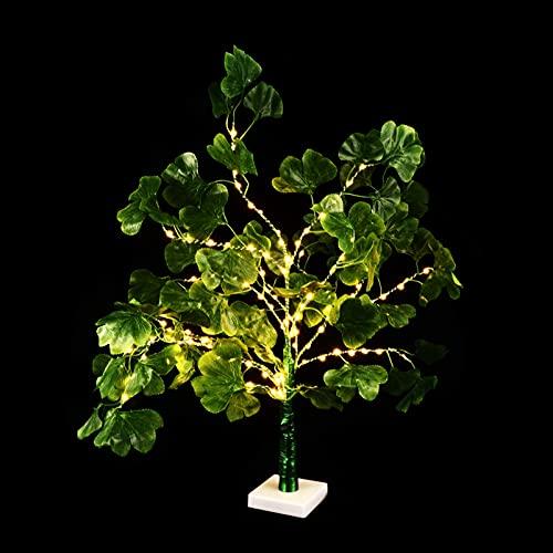 Sensibilidad LED Ginkgo Tree Light Tabletop Bonsai Tree Decorative Light Luz Arejado Arejado Twig Lámpara Compatible con Festival de Fiesta de Boda Fiesta Adorno Amarillo Multicolor ( Color : Green )
