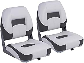 NORTHCAPTAIN T1 Deluxe Low Back Folding Boat Seat (2 Seats),White/Charcoal, Stainless Steel Screws Included