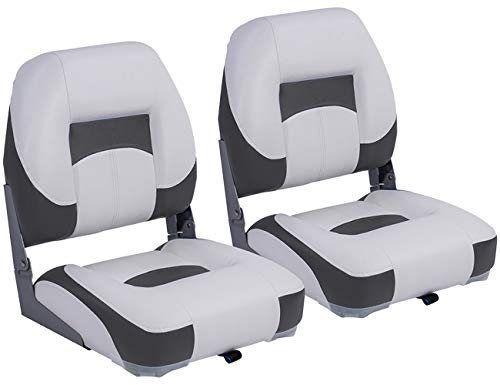 North Captain T1 Deluxe Low Back Folding Boat Seat (2 Seats),White/Charcoal, Stainless Steel Screws Included