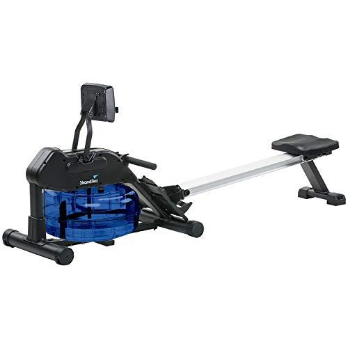 skandika Wasser Rudergerät Nemo II/III, Water Ruderzugmaschine mit regulierbarem Wasserwiderstand, klappbar, Rower mit 150 kg Benutzergewicht (Computer mit Tablet-Halterung)