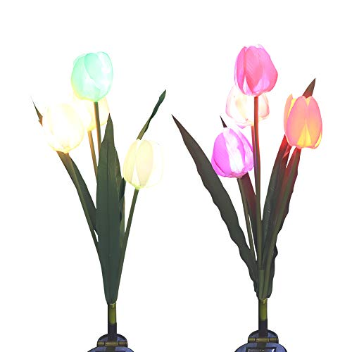 Outdoor Solar Garden Stake Lights, SOUBUN 2 Pack Waterproof Multi-Color Changing LED Solar Powered Decorative Lights with 8 Tulip Flower for Garden, Patio, Backyard (Pink and White)
