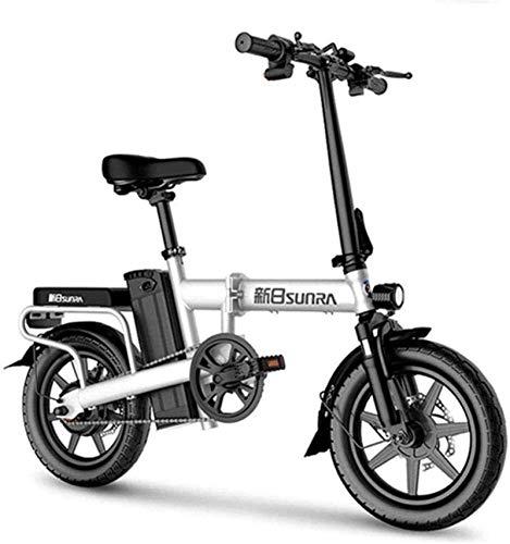 Bicicleta de montaña eléctrica, Bicicletas eléctricas rápidas for adultos de 14 pulgadas plegable bicicleta eléctrica con luz delantera LED de 48V for adultos extraíble de iones de litio de 350 W sin