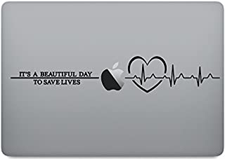 Laptop Skin Decal - Derek shepherd quote it's a beautiful day to save lives - Gray's Anatomy - Plus ECG in Heart - Macbook Pro 13